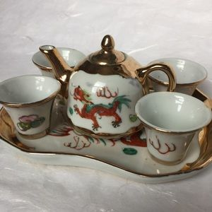 Chinese gold tea set with tray